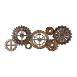 Uttermost - Uttermost Spare Parts Clock in Chestnut Brown - This unusual grouping of clocks is made of hand forged metal finished in a combination of dark chestnut brown, heavily antiqued gold and silver with burnished details. Quartz movement.