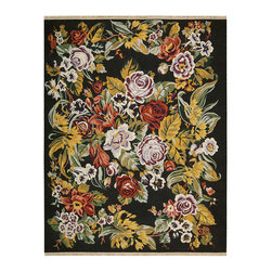 """Nourison - Nourison Nourmak Encore NOE02 3'9"""" x 5'9"""" Black Area Rug 05351 - Summer splendor sets the scene for this delightful profusion of blossoms, entwined in natural elegance. A lively palette of golden yellows, fresh greens and wine reds sparkle against the ebony black ground. Bring new allure to your home with this lush and bessarabian design."""