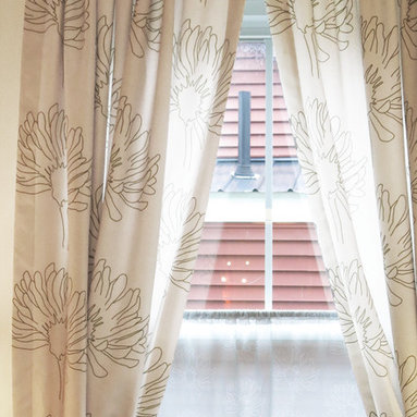 amydutton Window Treatments - Little Meadows Rod Pocket Curtain Panel - You can have window treatments made out of any of Amy Dutton original fabrics!   This curtain panel has a rod pocket style top and features Little Meadows fabric.