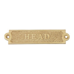 "Handcrafted Model Ships - Brass Head Sign 5"" Nautical Themed Bathroom Decor Nautical Theme Music - New - Ideal for posting in a boat, boathouse, or any room in the home or office, this solid brass Head sign 5"" clearly identifies the room it graces. Handcrafted from sailing's traditional brass, with stylish brass framing, this shining sign has a classy nautical appeal, with bold and clear lettering on a solid brass face."