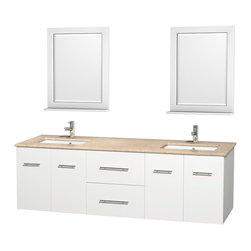 """Wyndham Collection - Centra 72"""" White Double Vanity, Ivory Marble Countertop, Undermount Square Sinks - Simplicity and elegance combine in the perfect lines of the Centra vanity by the Wyndham Collection. If cutting-edge contemporary design is your style then the Centra vanity is for you - modern, chic and built to last a lifetime. Available with green glass, pure white man-made stone, ivory marble or white carrera marble counters, with stunning vessel or undermount sink(s) and matching mirror(s). Featuring soft close door hinges, drawer glides, and meticulously finished with brushed chrome hardware. The attention to detail on this beautiful vanity is second to none."""