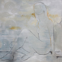 handmade - Summer Blond - This contemporary figurative art is created in mixed media on canvas and straddles the line between abstract and representational. Utilizing acrylic paint, oil sticks, spray paint and chalk the artist creates soft, multi-layered artwork that will add depth and movement to any room in your home, office or place of business. Summer Blond emanates a feeling of calm and introspection.