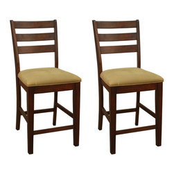 American Heritage - American Heritage Salma Slat Back Counter Height Dining Chair (Set of 2) - The American Heritage Billiards Salma slat back Counter Height Dining Chair - 700201SD is crafted of solid wood and features a traditional ladder back design with comfortable webbed and padded seat that includes a durable and easy to clean fabric.