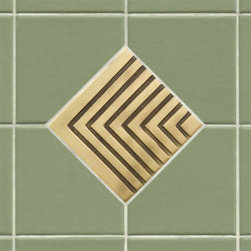 """4"""" Solid Brass Wall Tile with Chevron Design - Featuring a sleek and sophisticated chevron pattern, this 4"""" accent tile is sure to be the focal point of your bath or kitchen. It is made of solid brass and is offered with an optional tile frame for a custom look."""