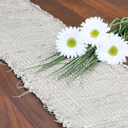 Rustic Recycled Runner - Rustic charm radiates from this eco-conscious table runner. Recycled strips of fabric are woven together to create a sweet, eye-catching piece with subtle touches of red.