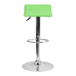 Flash Furniture - Flash Furniture Barstools Residential Barstools X-GG-NRG-TNOC-108-SD - This sleek dual purpose stool easily adjusts from counter to bar height. The backless design is casual and contemporary which allow it to seamlessly accent any area in the home. The easy to clean vinyl upholstery is perfect when being used on a regular basis. The height adjustable swivel seat adjusts from counter to bar height with the handle located below the seat. The chrome footrest supports your feet while also providing a contemporary chic design. [DS-801-CONT-GRN-GG]