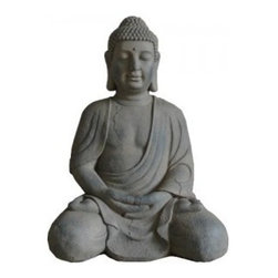 "28"" Sitting Buddah Garden Statuary Large - This 28"" Sitting Buddha Garden Statuary Large is perfect if you're looking to add some enlightenment and inspiration to your outdoor abode."