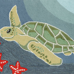 "Trans-Ocean - 24""x36"" Frontporch Sea Turtle Ocean Mat - Richly blended colors add vitality and sophistication to playful novelty designs.Lightweight loosely tufted Indoor Outdoor rugs made of synthetic materials in China and UV stabilized to resist fading.These whimsical rugs are sure to liven up any indoor or outdoor space, and their easy care and durability make them ideal for kitchens, bathrooms, and porches. Made in China."