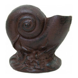 """Handcrafted Model Ships - Rustic Cast Iron Nautilus Shell Door Stop 8"""" - Beach Living Room Decor - The Rustic Cast Iron Nautilus Shell Doorstop 8"""" is the perfect addition for any nautical themed home. This is a solid, and durable decorative door stopper. Display this nautilus shell door stopper to show those who approach your home your affinity for the nautical sea-faring lifestyle."""