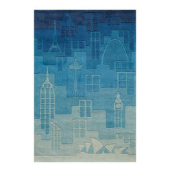 Grandin Road - Cityscape Area Rug - 2'x 3' - Adorable and plush handcarved area rug. Design depicts famous city buildings and monuments in blue ombr�. Hand-tufted construction. 100% modacrylic. Extend the life of your rug with a Nonslip Rug Pad (sold separately). Our sculpted Cityscape Indoor Area Rug invites celebrated city landmarks, in shades of blue, to take the floor of your hippest room.. Design depicts famous city buildings and monuments in blue ombre. . . .