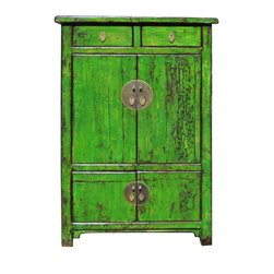 Golden Lotus - Chinese Bright Green Lacquer Restored Cabinet - This is an old Chinese cabinet restored and painted in modern lacquer color. It is a new alternative for combining old and new , east and west.