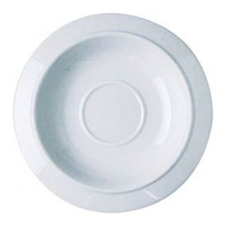 "Alessi - Bavero 5.5"" Saucer for Coffee Cup (Set of 6) - The Bavero collection saunters with a crisp and simple, uncluttered approach, exhibited by the ""Bavero"" Saucer. Made of elegant white porcelain, this saucer will add a touch of class to any table setting. Features: -Saucer for coffee cup. -Complements the Bavero collection. -Pale blue rim decoration. -An affordable range of simple pieces. Specifications: -Diameter: 5.5"". -Material: White porcelain. -Dishwasher and microwave safe."