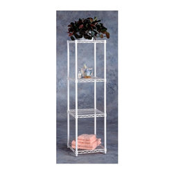 Metro Shelving - Four Tier Wire Shelf Tower in White - For those who don't always prefer dark office furnishings, this handsome four tier tower comes in a refreshing white finish to meet your home office needs. Its contemporary wire shelving is not only adjustable but incredibly sturdy, holding almost anything.