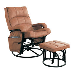Coaster - Coaster Glider with Ottoman in Tan - Coaster - Gliders and Rockers - 650005 - The Glider with Ottoman in Tan by Coaster with its plush cushioning and up to date design offers you a comfortable and relaxing experience. The recliner and ottoman both glide for the smoothing sway any time you want to lay back and relax. There is a storage pocket on the side of the recliner for more convenience.