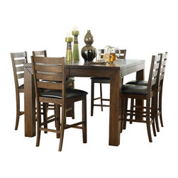 """Homelegance - Homelegance Eagleville 5-Piece Counter Dining Room Set in Brown - Your dining area will become a comfortable and exquisite gathering place when you add this durable and stunning Eagleville collection. The versatile dining height table and counter height table in birch veneers feature butterfly leaf for convenient extra surface space, while substantial block table legs stand prominently to provide extra structural reinforcement. Chairs, 60"""" bench, and server are proportionally scaled to round up this offering."""