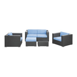 Malibu 5-Piece Outdoor Patio Sofa Set - On the border of the Pacific Ocean lies a place of great peace and quietude. Surrounded by silence, Malibu's soft all-weather light blue fabric cushions and espresso rattan base take you to that place, one relaxing and conducive for interaction with others. Abstract past experiences morph into future discoveries with a warm set that helps expand your horizons.