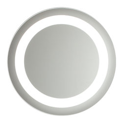 Vanita And Casa - Large Circular Lighted Mirror - This modern lighted mirror is an amazing addition to your contemporary bathroom. Circular in shape and 24 inches in diameter, its lighted circular format is both functional and fancy. Lamp: T9/40W 6400K. Voltage: 110V. Mirror thickness: 1.8 inch. Safety PVC film packing. Defogger function. UL listed and certified. On/Off switch, Direct wire.