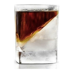 Modern Whisky Glass - Try a new slant on your whiskey sipping. This innovative whisky wedge cools bourbon, tequila, scotch and other spirits without watering them down, thanks to a wedge of ice that chills each sip as it's tipped back.