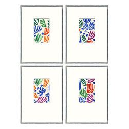 Soicher-Marin - Matisse Minis, Set of 4 - Giclee Print with a silver metallic wood frame with white mat insert.  Includes glass, eyes and wire. Made in the USA. Wipe down with damp cloth