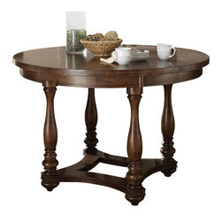 "Steve Silver Furniture - Steve Silver Wyndham Round Counter Table in Distressed Tobacco - The Wyndham Dining Collection adds a rustic country charm to any dining area, with modern touches that even the most sophisticated home decorator will love. The 36"" high Wyndham counter table has a 54"" round top, seating four comfortably."