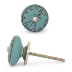 "Knobco - Ceramic Knob, Black Clock with Dark Turquoise - Black Clock with Dark Turquoise Ceramic knob, perfect for your kitchen and bathroom cabinets! The knob is 1.5"" in diameter and includes screws for installation."