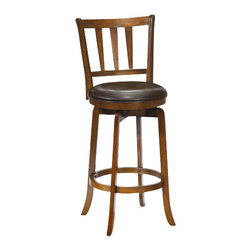 Hillsdale Furniture - Hillsdale Presque Isle Swivel 30 Inch Barstool in Cherry - Hillsdale Furniture's stately Presque Isle stool has a sturdy base with flared legs. The back has an interesting tapered spindle design and the seat is covered in easy to care for vinyl. This handsome stool is available in either a black finish with black vinyl or a cherry finish with brown vinyl. Exuding a warm, rich ambiance and constructed of hardwood, these stools are a wonderful addition to any kitchen or home bar area.