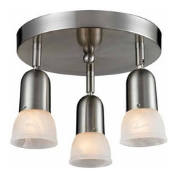 Z-Lite - Z-Lite 221 Pria Three-Light Flush Mount Ceiling Fixture - The Pria family�s clean lines will not only blend in with modern and traditional styling, but also they are very versatile. These 3 Light Semi Flush Mount Light can accommodate any room or closet. The individual lights are directional. The white swirl shades are paired with brushed nickel finish.Specifications: