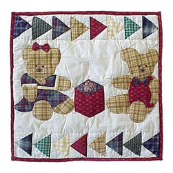Patch Quilts - Brown Bear Toss Pillow 16 x 16 Inch - Decorative applique Quilted Pillow Bed and Home Ensembles and Bedding items from Patch Magic   - Machine washable  - Line or Flat dry only Patch Quilts - TPBRBR