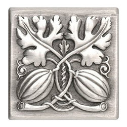 "Notting Hill - Notting Hill Autumn Squash Tile - Antique Pewter - Notting Hill Decorative Hardware creates distinctive, high-end decorative cabinet hardware. Our cabinet knobs and handles are hand-cast of solid fine pewter and bronze with a variety of finishes. Notting Hill's decorative kitchen hardware features classic designs with exceptional detail and craftsmanship. Our collections offer decorative knobs, pulls, bin pulls, hinge plates, cabinet backplates, and appliance pulls. Dimensions: 4"" x 4"" square"