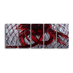 "'Eternal Heart' 5 Piece Handmade Metal Wall Art Set - Size: 24"" x 60"" (24"" x 12"" x 5pc).  Enjoy a 100% hand crafted metal wall art made of high grade brushed aluminum over a 1/2 inch thick inner wooden frame. This beautiful wall decor is hand painted and ready to hang out of the box. Each aluminum sheet is hand sanded and hand grinded until the desired holographic effect is accomplished. This process brings the artwork to life and you see it moving as you walk by. Then the grinded panels are hand painted with multiple layers of paint and finished with clear UV coat. With each purchase of our metal art you receive a one of a kind piece due to the handcrafted nature of the product. Hand crafted by a single talented artist. Due to the handcrafted nature, each piece may have subtle differences."