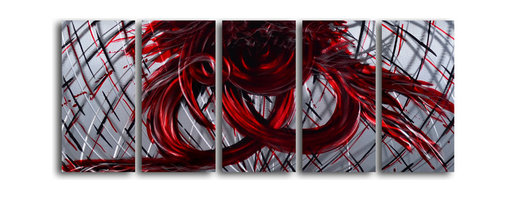 """'Eternal Heart' 5 Piece Handmade Metal Wall Art Set - Size: 24"""" x 60"""" (24"""" x 12"""" x 5pc).  Enjoy a 100% hand crafted metal wall art made of high grade brushed aluminum over a 1/2 inch thick inner wooden frame. This beautiful wall decor is hand painted and ready to hang out of the box. Each aluminum sheet is hand sanded and hand grinded until the desired holographic effect is accomplished. This process brings the artwork to life and you see it moving as you walk by. Then the grinded panels are hand painted with multiple layers of paint and finished with clear UV coat. With each purchase of our metal art you receive a one of a kind piece due to the handcrafted nature of the product. Hand crafted by a single talented artist. Due to the handcrafted nature, each piece may have subtle differences."""