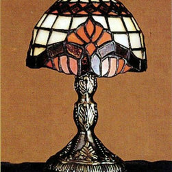 """Meyda Tiffany - Meyda Tiffany Lamps Table Lamp in Mahogany Bronze - Shown in picture: Baroque Micro Mini Lamp; 5""""""""H Baroque Micro Mini Lamp�Royal Scrolls Of Regal Red With Color-Coordinated Diamonds Adorn This Appealing Tiffany Styled Lamp. The Dome Shaped Shade Is Complemented With Beige And Orange Art Glass With A Base Finished In Mahogany Bronze."""