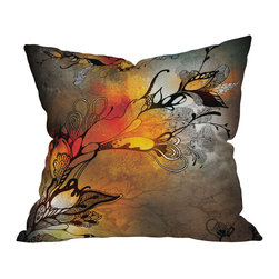 DENY Designs - Iveta Abolina Before The Storm Throw Pillow, 26x26x7 - Riders on the storm, take comfort with this pillow. Black stylized flowers and tendrils pop against a dramatic color-washed background of grays and oranges printed front and back on woven polyester. Get that approaching summer thunderstorm feeling anytime with this moody splash of color for your sofa or bed.