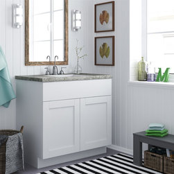 None - Ameriwood 36-inch White Shaker Style Bath Vanity Cabinet - Sure to become your bathroom's new focal point,the White shaker-style bathroom vanity cabinet from Ameriwood offers clean lines and lots of space for your bath accessories. The cabinet is finished in Ameriwood's White Stipple finish.