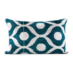 """Indigo&Lavender - 16"""" x 24"""" Silk Velvet Ikat Pillow, Teal Green - Made from Ikat textiles that are loomed from hand-dyed silk in Uzbekistan, along Marco Polo�۪s renowned Silk Road, each pillow has been hand-sewn in Istanbul, Turkey. The goose down fill ensures extra luxury. Solid linen backing and zipper."""