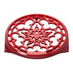 "Le Creuset - Le Creuset 9"" Deluxe Round Trivet - Cherry - This classically styled cast iron trivet protects table linens and wooden surfaces from heat while adding a decorative accent to any countertop or table setting."