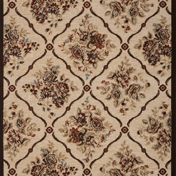 "Concord Global - Concord Global Milano Rose Trellis Beige Beige Floral 8'2"" x 10'6"" Rug (56915) - This collection has a broad range of contemporary to traditional patterns. Made of soft olefin and chenille yarns giving the designs a unique texture and feel. Constructed with the latest colors in fashion, Milano will fit with any d�cor in a room or an office."