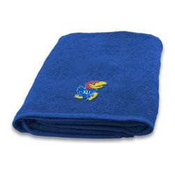 Northwest Company, The - University of Kansas 100% Cotton Bath Towel - Show off your team spirit with this fun-looking bath towel. In your school team's color, bath towel features an embroidered school logo that's displayed when you fold or hang the towel over a towel rack.
