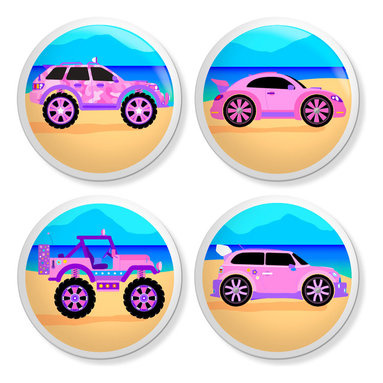 New Speed Limit - Set of 4 Dresser Drawer Knobs/Pulls Hardware For Kids - Cute Cruisers - Cute Cruisers Mini, Bug, Rover and Jeep Moms or Dads, you can give your child's old dresser a quick inexpensive DIY makeover. Our custom-made ceramic knob sets screw on easily to most flat faced drawer fronts in minutes! Your kids will love one of our many cool, detailed, and fun designs. You will love the traditional, easy to grab, clean, and round shape with no sharp edges. Perfect! Each 4 Pack contains 4 1 1/2 inch bright ceramic knobs with a 1 1/4 inch long Phillips head screw. Please check out all of our different designs.