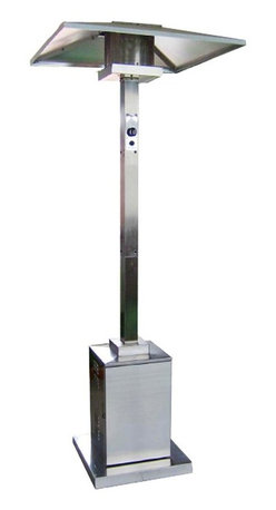 PrimeGlo - 91 in. Patio Heater - Commercial Heaters - Commercial Heaters Collection. Made of Stainless Steel. Stainless Steel finish. 38,000 BTU's Variable Control. Safety devices such as a thermocouple and anti tilt device. Wheels for mobility. 34 in. L x 34 in. W x 91 in. H (65 lbs.)Outdoor commercial propane patio heater in Stainless Steel. It stands 91 inches tall. This unit comes with safety devices, which include a thermocouple and anti tilt device. The heater comes with an easy start electric ignition. Heat production of 41k BTU's which heats a 400 sq. ft. diameter.