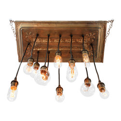 """Urban Chandy - Reclaimed Ceiling Tins Repurposed into Chandelier with varying Edison bulbs, Cop - Reclaimed ceiling tin tiles from old warehouse in Texas repurposed into a hanging light fixture chandelier with 28 pendant lights with varying Edison bulbs. Base is 22"""" x 46"""" and lowest bulb hangs down 32"""" from base. Length can be adjusted longer/shorter based on your ceiling height. Bulbs and some hardware included. Made to order in Brooklyn, NY, ships in 5-10 business days. Only one connection point on top to power source. Total 458 watts, 120 volts.  We can make it in lots of colors: antique gold, copper, black, antique white, red, blue, pewter, antique silver, dark brown with metallic (black coffee)...let us know if you need something else!"""