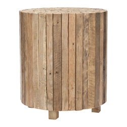 Safavieh - Richmond Round End Table - Natural and rustic, the Richmond square end table is crafted of reclaimed teak in a 21st century iteration of butcher block designs. Individual lengths of wood from old Javanese houses is laminated together to form an interesting tabletop motif and unique blend of colors. No assembly required.