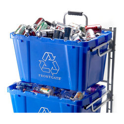 """Frontgate - Set of Three Blue Recycling Bins - 25-7/10""""L x 16-1/5""""W x 14-1/2""""H. Each 18 gallon bin holds up to 100 lbs."""