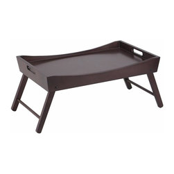 Winsome Wood - Benito Bed Tray w Curved Top in Dark Espresso - Curved top. Foldable legs. Wood construction. Wood variances may occur. Assembly required. 24.41 in. W x 14.96 in. D x 10.16 in. H. Folding size: 22 in. W x 14.9 in. D x 2.9 in. HServe your breakfast on this great bed tray finished in Espresso. Folding leg is great for storage.