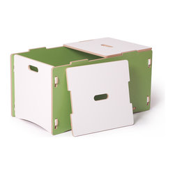Quark Enterprises - Toy Box, Green and White - A big toy box is an essential in a playroom. Parents appreciate anything that makes cleanup and organization with kids easier, right? Plus, this is one that kids can open and close themselves without risking pinched fingers.