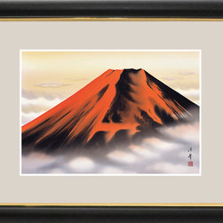 Japanese Wall Hanging Red Mt Fuji - Gorgeous red colored Mt Fuji paint in the frame may bring you lucks and will enhance your home.  We traditionally hang the art in Tokonoma section in Tatami room, but this piece of art will brighten up any rooms you hang; living room, bed room, or the entrance of your home.  You can change your hanging scroll easily depending on the seasons and occasions as it is very light weight and you can roll them up to store in your closet while not using.