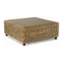 Wicker Paradise - Seagrass Coffee Table - Tangiers - The Tangiers seagrass coffee table features a tempered glass top and wood feet. Please note glass top is no longer inset.