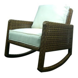 Panama Jack - Panama Jack St. Barth's Aluminum Rocking Chair - Escape to your very own Caribbean paradise with The St Barth's collection by Panama Jack. The Rocking Chair incorporates an extruded aluminum frame with an exclusive thick woven wicker fiber from Viro and is strong and durable. A fast drying cushion of polyester fabric as shown compliments the Rocking Chair to provide extra support. For an additional charge you can upgrade to a high quality Sunbrella fabric cushion with a variety of colors and patterns to choose from to match your outdoor decor. Combine the rocking chair with other items in this collection to create the ultimate Caribbean paradise in your home patio. The St. Barth's collection by Panama Jack incorporates an extruded aluminum frame with an exclusive thick woven wicker fiber from Viro. The arms on the lounge chair and loveseat are thick and provide a comfortable arm rest. Fast drying cushions with outdoor polyester fabric are included and are suitable for all year around use outdoor.More than three decades ago the Original Panama Jack suncare products were quietly introduced on Florida's beaches. Word gets around in a beach town. Like the sand in their shoes and the sunset memories in their minds loyal locals and visitors alike took Panama Jack home with them to Main Street America and to the world. Since those early days Panama Jack established a following that extends far beyond stretches of pure white sand. Made with Love Care and Pride since 1974 Panama Jack is committed to bringing the feeling of escape fun adventure and the lifestyle of the tropics to people everywhere. They will continue to deliver products that provide you with even more freedom to enjoy what's most meaningful to you and your family. Features include Outdoor Rocking Chair with cushion Constructed of extruded aluminum frame that will not rust Weather and UV resistant Cushion as shown included with Polyester Fabric Constructed of aluminum and resin wicker Sturdy alum