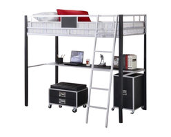 """Coaster - Twin Loft Bed (Metal/Black) By Coaster - """"A true space saver, this twin loft bed is made of solid metal finished in sleek silver and black. Below, this loft bed includes a desk shelf, as well as an included metal ladder. Pair this loft bed with the coordinating task chair and cabinet, to complete a functional and smart looking addition to the youth room in your home."""" Dimensions: """"Twin Loft Bed, 78-1/4""""""""W x 57-3/4""""""""D x 67-3/4""""""""H"""" Some assembly may be required. Please see product details."""