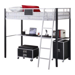 "Coaster - Twin Loft Bed (Metal/Black) By Coaster - ""A true space saver, this twin loft bed is made of solid metal finished in sleek silver and black. Below, this loft bed includes a desk shelf, as well as an included metal ladder. Pair this loft bed with the coordinating task chair and cabinet, to complete a functional and smart looking addition to the youth room in your home."" Dimensions: ""Twin Loft Bed, 78-1/4""""W x 57-3/4""""D x 67-3/4""""H"" Some assembly may be required. Please see product details."